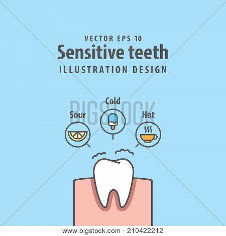 Single Sensitive Teeth Illustration Vector On Blue Background. Dental Concept.