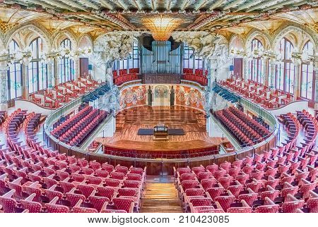 Interior Of Palau De La Musica Catalana, Barcelona, Catalonia, Spain