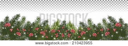 Christmas long garland.Beautiful evergreen garland of Xmas tree branchesred berries and snowflakes sparkles.Merry Christmas and Happy New Year greeting. Panorama. Vector illustration. Eps 10.