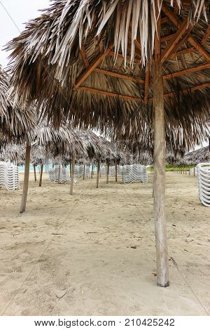 Morning empty beach in cloudy weather, Cuba, Varadero