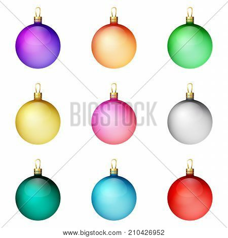 A festive set of bright Christmas balls. Merry Christmas. Bulky items.