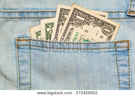 Few Worn Us Dollars Notes In Jeans Pocket