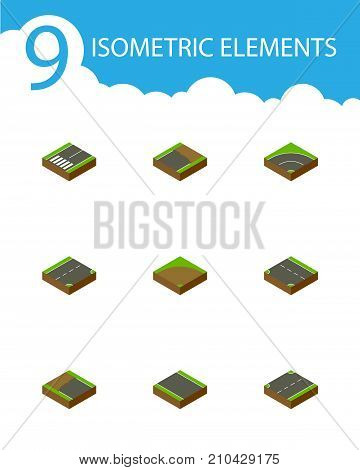 Isometric Road Set Of Bitumen, Incomplete, Downward And Other Vector Objects