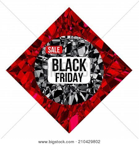 BLACK FRIDAY sale design poster on shattered background created from intersected lines and painted in different shades of black and red. Concept for your desing.