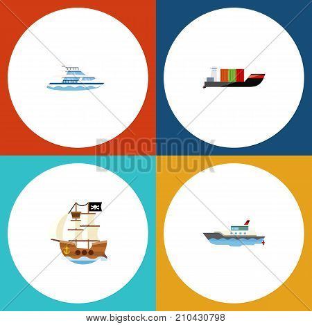 Flat Icon Vessel Set Of Sailboat, Boat, Vessel And Other Vector Objects