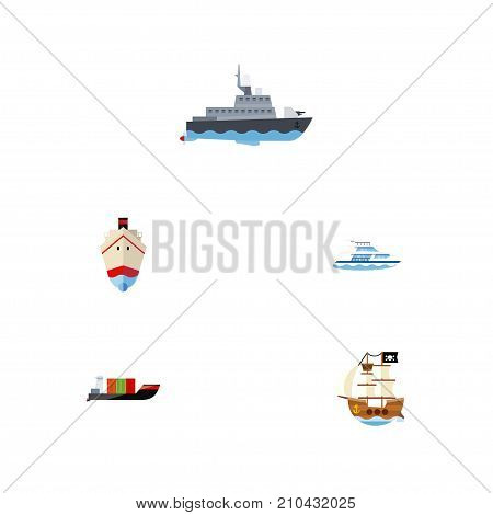 Flat Icon Vessel Set Of Ship, Vessel, Boat And Other Vector Objects