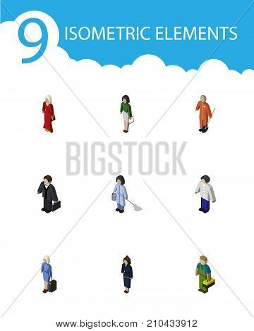 Isometric People Set Of Male, Pedagogue, Businesswoman And Other Vector Objects