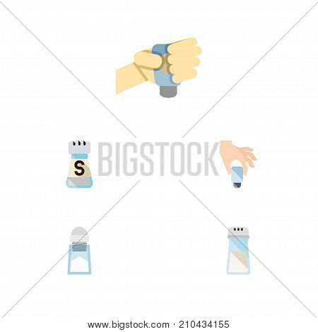 Flat Icon Salt Set Of Flavor, Sodium, Salt And Other Vector Objects