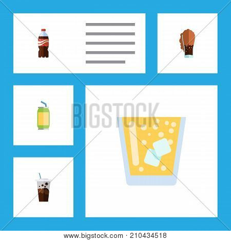 Flat Icon Soda Set Of Carbonated, Soda, Drink And Other Vector Objects