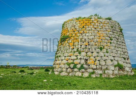 The Nuraghe near Santa Sabina - a prehistorical tower made of blocks of basalt in the Province of Sassari, Sardinia, Italy.