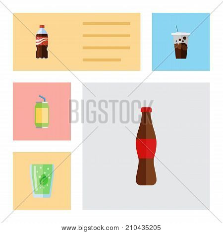 Flat Icon Beverage Set Of Carbonated, Bottle, Drink And Other Vector Objects