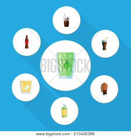 Flat Icon Beverage Set Of Soda, Lemonade, Carbonated And Other Vector Objects