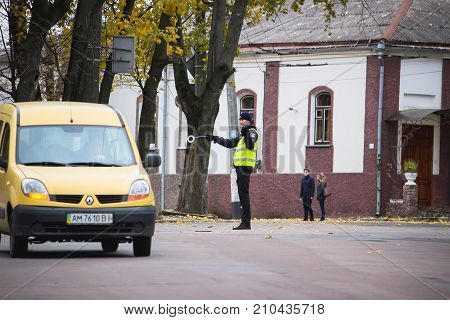 Zhytomyr, Ukraine - September 23, 2017: Traffic Cop Checking The Traffic.