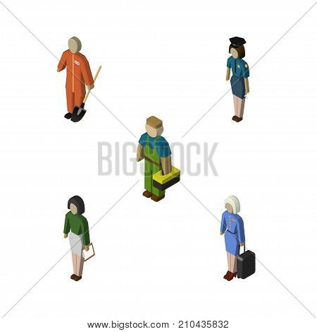 Isometric Person Set Of Policewoman, Pedagogue, Plumber And Other Vector Objects