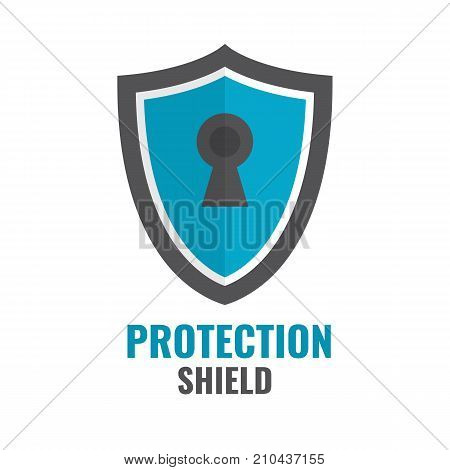 Shield Security Icon. Protection logo. Shield concept. Flat design emblem Vector illustration.