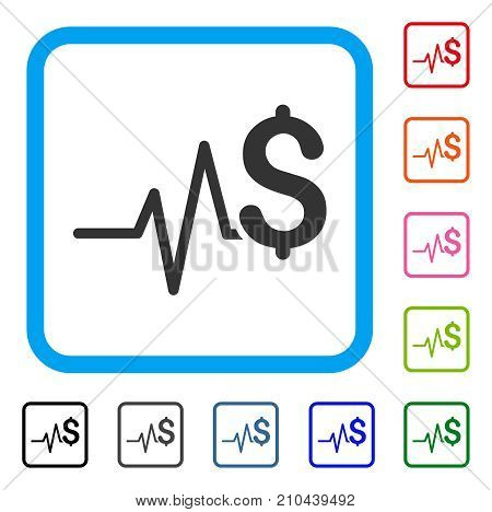 Financial Pulse icon. Flat gray iconic symbol inside a light blue rounded frame. Black, gray, green, blue, red, orange color additional versions of Financial Pulse vector.