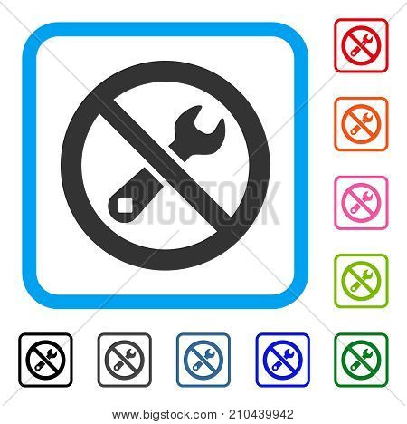Forbidden Repair icon. Flat gray iconic symbol in a light blue rounded rectangle. Black, gray, green, blue, red, orange color variants of Forbidden Repair vector. Designed for web and software UI.