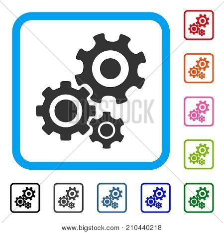 Gear Mechanism icon. Flat grey pictogram symbol in a light blue rounded rectangular frame. Black, gray, green, blue, red, orange color additional versions of Gear Mechanism vector.