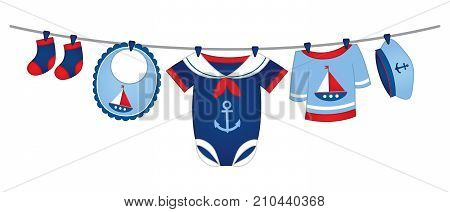Vector baby clothes in nautical style hanging on the line. Vector baby clothes. Vector baby clothing. Baby clothes vector illustration