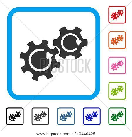 Gears Rotation icon. Flat grey pictogram symbol inside a light blue rounded rectangle. Black, gray, green, blue, red, orange color variants of Gears Rotation vector.