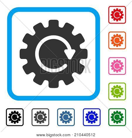 Gearwheel Rotation icon. Flat grey pictogram symbol in a light blue rounded rectangle. Black, gray, green, blue, red, orange color variants of Gearwheel Rotation vector. Designed for web and app UI.