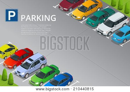 Isometric vector illustration Car in the parking lot . Flat illustration icon for web. Urban transport. Parking space. Accessibility.