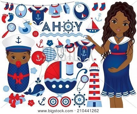 Vector baby shower set in nautical style. Set includes African American pregnant woman, baby, stroller , diapers, balloons, accessories, clothes and nautical elements. Baby shower vector illustration