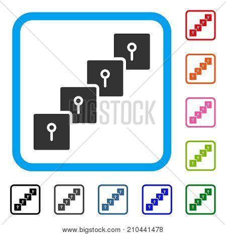 Locker Blockchain icon. Flat grey pictogram symbol in a light blue rounded rectangular frame. Black, gray, green, blue, red, orange color variants of Locker Blockchain vector.