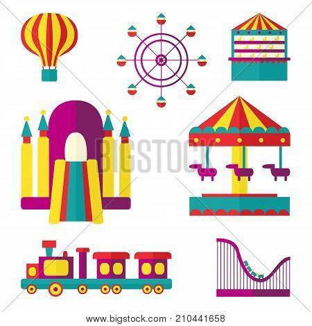 Amusement park set - Ferris wheel, carousel, rollercoaster, train, balloon, bouncy castle, shooting gallery, flat style vector illustration isolated on white background. Amusement park flat icon set