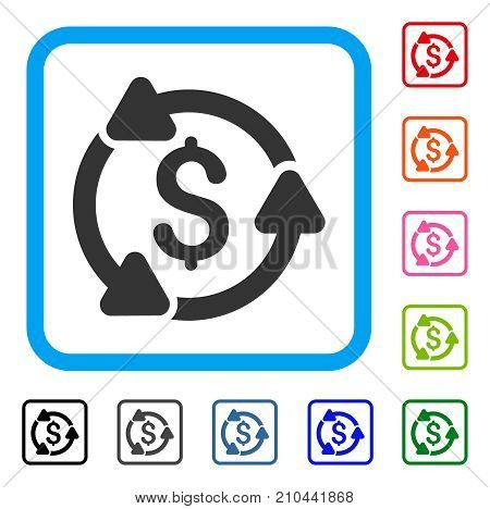Money Circulation icon. Flat gray pictogram symbol in a light blue rounded rectangular frame. Black, gray, green, blue, red, orange color additional versions of Money Circulation vector.