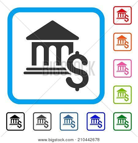 Pay Museum icon. Flat gray pictogram symbol inside a light blue rounded squared frame. Black, gray, green, blue, red, orange color variants of Pay Museum vector.