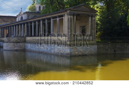 POTSDAM GERMANY - AUG 08 2016: Fragment of the Kaiser Frederick Mausoleum at Sanssouci Park the former summer palace of Frederick the Great King of Prussia