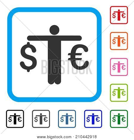 Person Compare Euro Dollar icon. Flat grey iconic symbol in a light blue rounded rectangle. Black, gray, green, blue, red, orange color variants of Person Compare Euro Dollar vector.