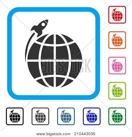 Planet Satellite Launch icon. Flat gray pictogram symbol inside a light blue rounded rectangular frame. Black, gray, green, blue, red, orange color versions of Planet Satellite Launch vector.