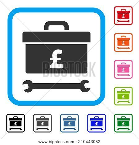 Pound Toolbox icon. Flat grey iconic symbol inside a light blue rounded rectangular frame. Black, gray, green, blue, red, orange color variants of Pound Toolbox vector.