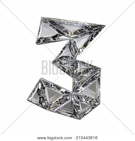 Crystal Triangulated Font Number Three 3 3D