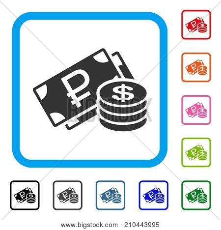 Rouble And Dollar Cash icon. Flat gray iconic symbol inside a light blue rounded rectangle. Black, gray, green, blue, red, orange color versions of Rouble And Dollar Cash vector.