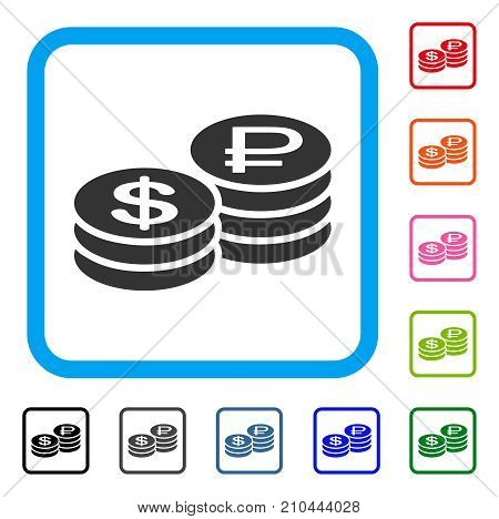 Rouble And Dollar Coins icon. Flat gray pictogram symbol in a light blue rounded rectangle. Black, gray, green, blue, red, orange color versions of Rouble And Dollar Coins vector.