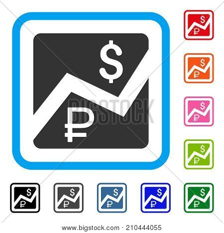 Rouble And Dollar Finances icon. Flat gray iconic symbol inside a light blue rounded square. Black, gray, green, blue, red, orange color additional versions of Rouble And Dollar Finances vector.