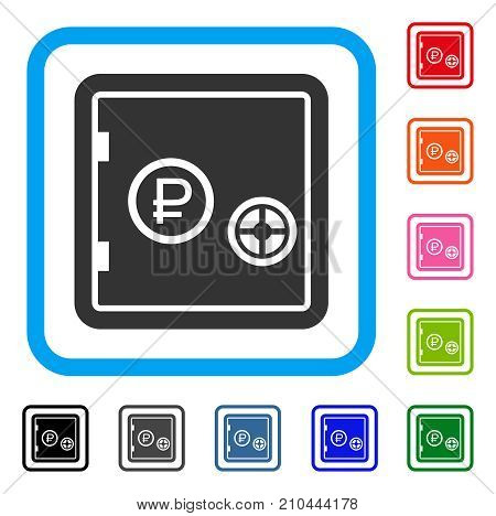 Rouble Bank Safe icon. Flat gray iconic symbol inside a light blue rounded rectangular frame. Black, gray, green, blue, red, orange color additional versions of Rouble Bank Safe vector.