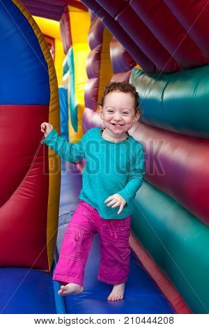 Happy Toddler Bounce In Trampoline