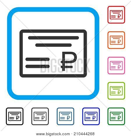 Rouble Cheque icon. Flat grey pictogram symbol in a light blue rounded frame. Black, gray, green, blue, red, orange color additional versions of Rouble Cheque vector.