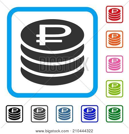 Rouble Coins Stack icon. Flat gray pictogram symbol in a light blue rounded squared frame. Black, gray, green, blue, red, orange color additional versions of Rouble Coins Stack vector.