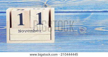 Vintage Photo, November 11Th. Date Of 11 November On Wooden Cube Calendar