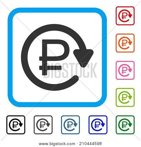 Rouble Recurring Payment icon. Flat gray iconic symbol inside a light blue rounded rectangular frame. Black, gray, green, blue, red,