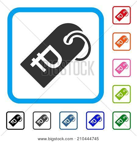 Rouble Token icon. Flat gray iconic symbol in a light blue rounded square. Black, gray, green, blue, red, orange color additional versions of Rouble Token vector. Designed for web and software UI.