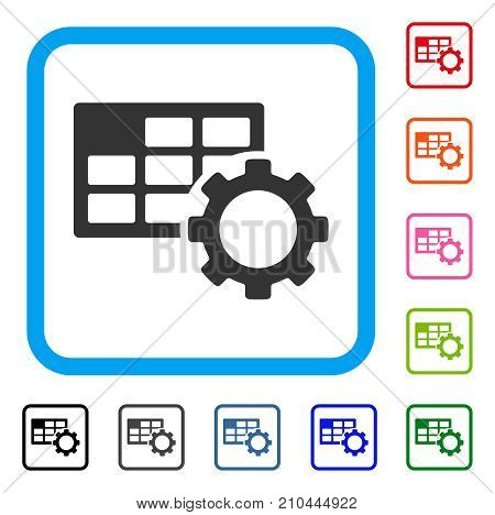Schedule Settings icon. Flat gray pictogram symbol inside a light blue rounded squared frame. Black, gray, green, blue, red, orange color versions of Schedule Settings vector.