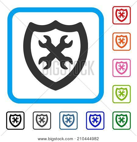 Security Configuration icon. Flat gray pictogram symbol inside a light blue rounded squared frame. Black, gray, green, blue, red, orange color variants of Security Configuration vector.
