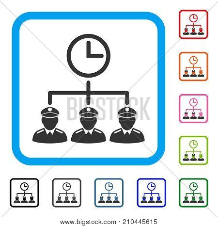 Time Army icon. Flat grey pictogram symbol in a light blue rounded rectangular frame. Black, gray, green, blue, red, orange color variants of Time Army vector. Designed for web and application UI.