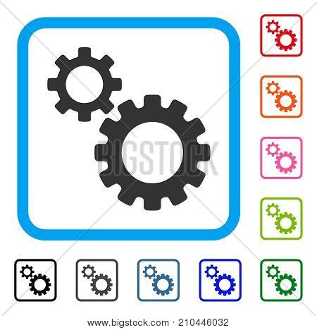 Transmission Gears icon. Flat grey iconic symbol inside a light blue rounded rectangle. Black, gray, green, blue, red, orange color variants of Transmission Gears vector.